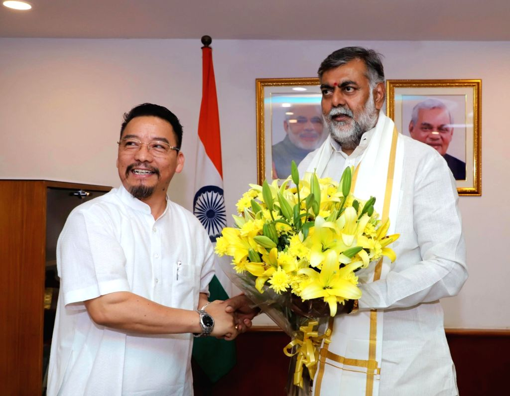 Nagaland's Minister for Tourism, Art and Culture Khehovi Yepthomi meets Union MoS Culture and Tourism (Independent Charge) Prahalad Singh Patel, in New Delhi on June 14, 2019. - Prahalad Singh Patel