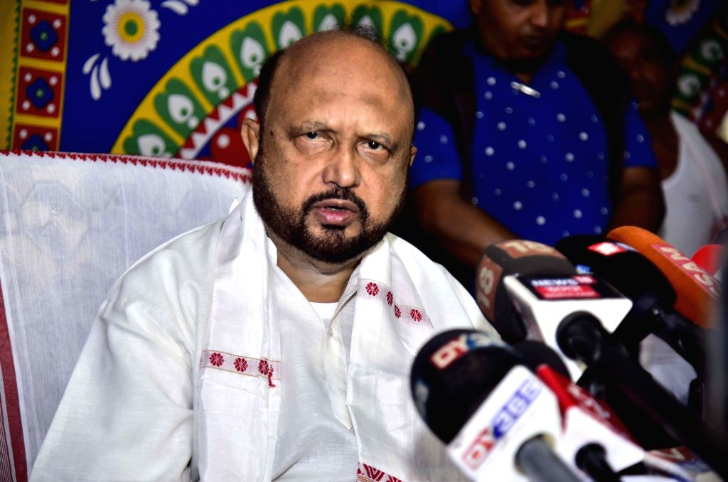 Nagaon: Asom Gana Parishad (AGP) leader Prafulla Kumar Mahanta addresses a press conference in Assam's Nagaon on March 13, 2019. (Photo: IANS) - Prafulla Kumar Mahanta