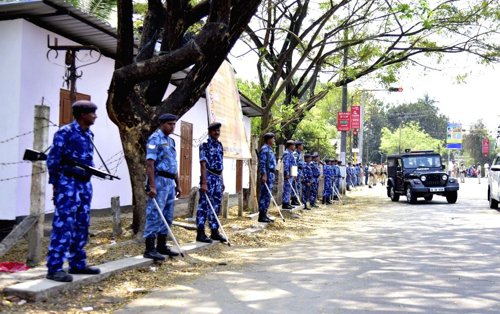 Nagaon: Security personnel deployed ahead of 2019 Lok Sabha elections in Assam's Nagaon, on March 22, 2019. (Photo: IANS)