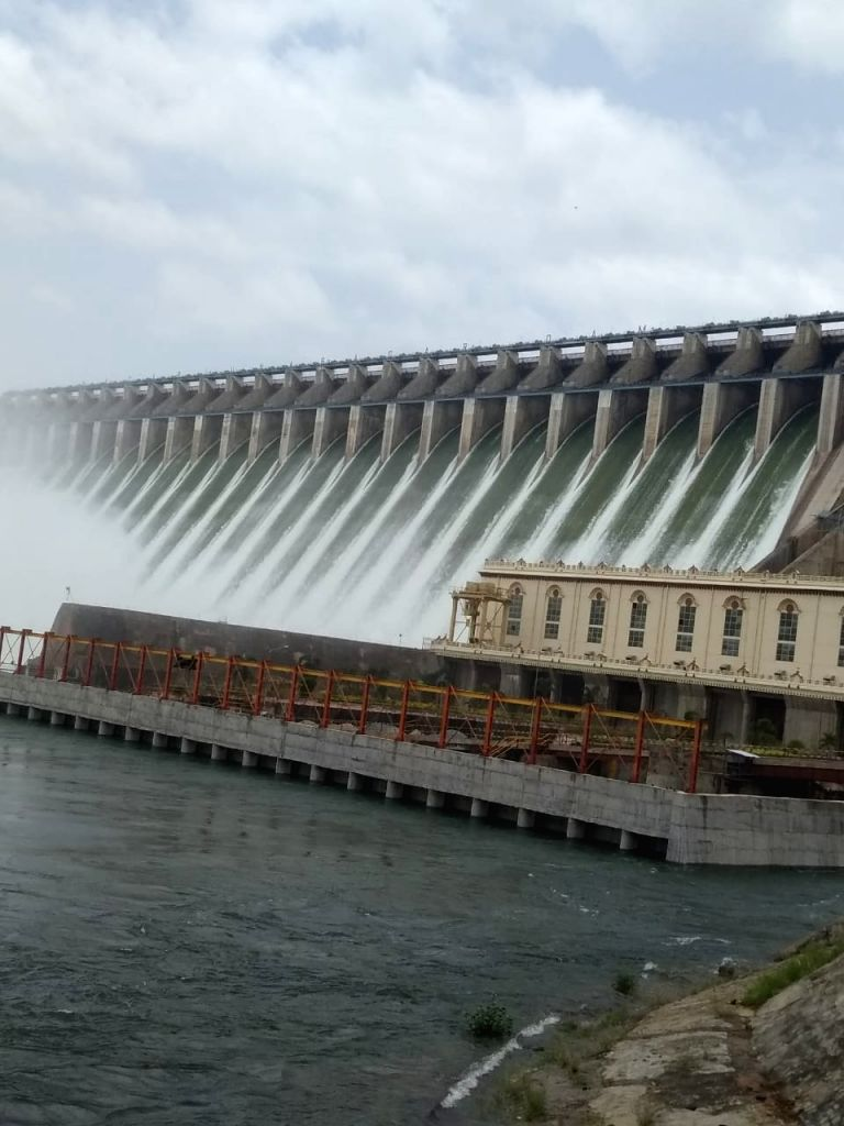 Nagarjuna Sagar: Water being released from Nagarjuna Sagar Dam built across the Krishna river in Andhra Pradesh on Aug 12, 2019.