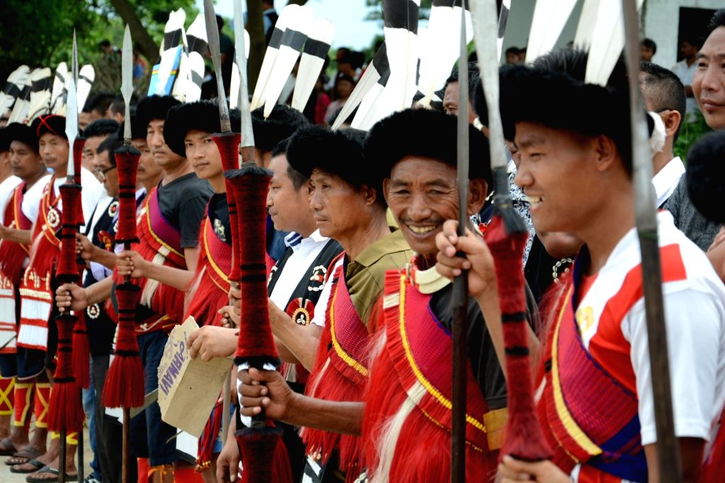 Nagas in their traditional attire pay homage to Naga rebel leader Isak Chishi Swu at Dimapur in Nagaland on June 30, 2016.  Isak Chishi Swu died at a Delhi hospital on 28 June.
