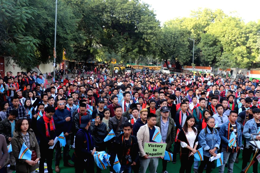 """Nagas participate in a rally organised by Naga Student Union Delhi (NSUD) to demand """"immediate"""" political solution to the two-decade old Indo-Naga peace talks; in New Delhi, on ..."""