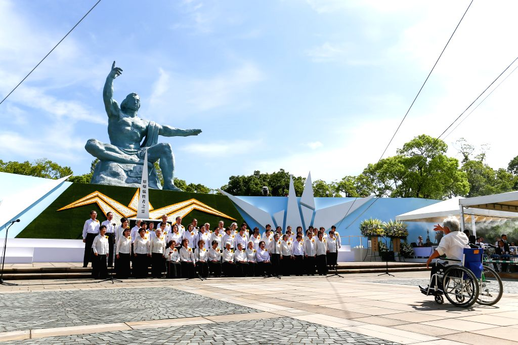 NAGASAKI, Aug. 9, 2018 - A chorus sing during the 73rd anniversary of the U.S. atomic bombing of Nagasaki City in Nagasaki City, Japan, on Aug. 9, 2018. Nagasaki City in Japan commemorated the 73rd ...