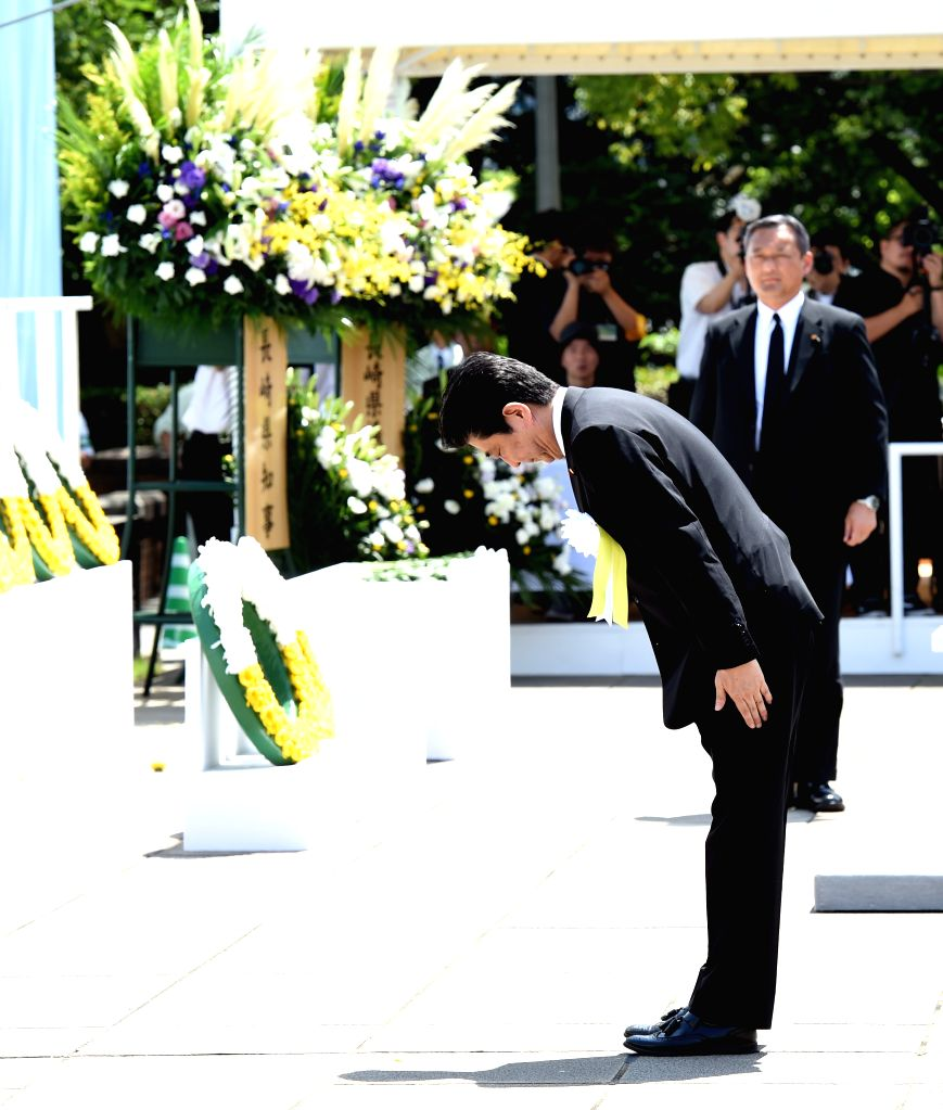 NAGASAKI, Aug. 9, 2018 - Japanese Prime Minister Shinzo Abe bows during the commemorative event of 73rd anniversary of the U.S. atomic bombing of Nagasaki City in Nagasaki City, Japan, on Aug. 9, ... - Shinzo Abe