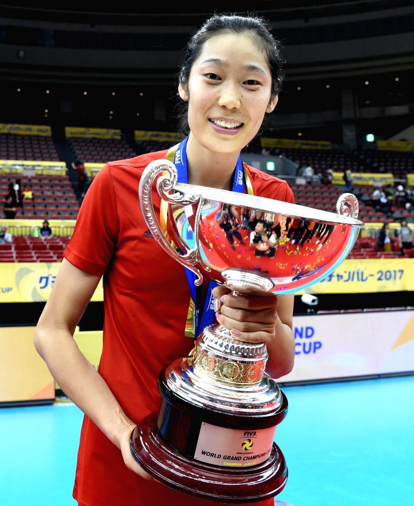 NAGOYA, Sept. 10, 2017 - China's Zhu Ting holds the trophy to celebrate after the awarding ceremony for FIVB Women's Grand Champions Cup 2017 at Nippon Gaishi Hall in Nagoya, Japan on Sept. 10, 2017. ...