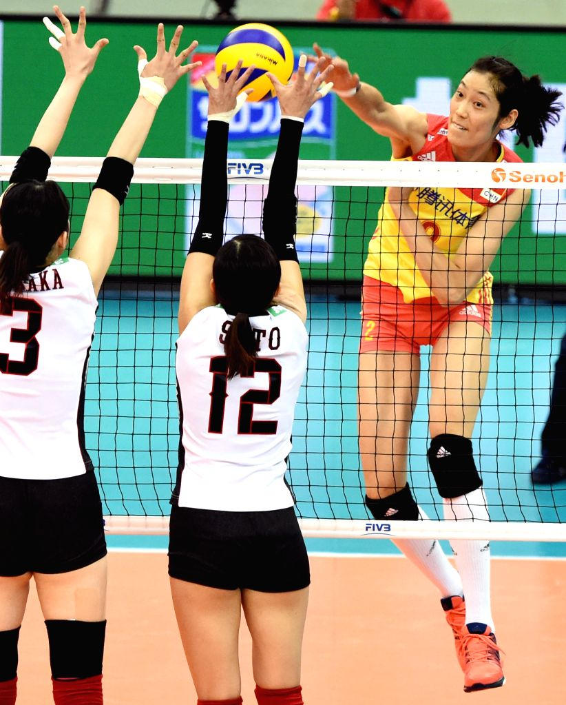 NAGOYA, Sept. 10, 2017 - China's Zhu Ting(R) spikes during the round robin match against Japan in FIVB Women's Grand Champions Cup 2017 at Nippon Gaishi Hall in Nagoya, Japan on Sept. 10, 2017. Team ...
