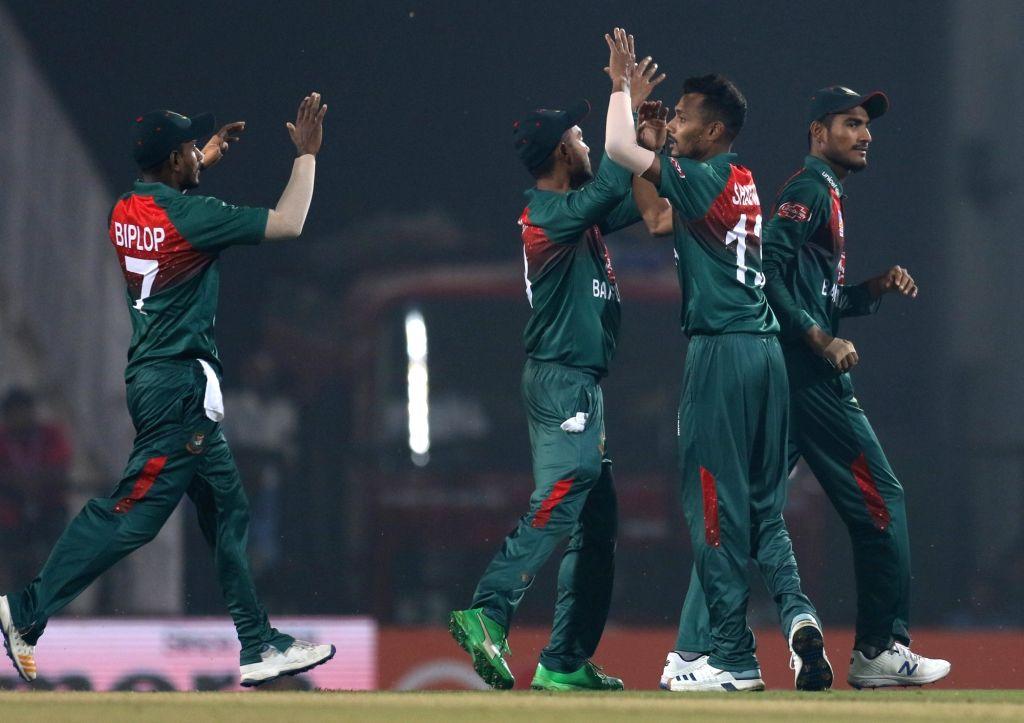 Nagpur: Bangladesh's Shafiul Islam celebrates fall of Shikhar Dhawan's wicket during the 3rd T20I match between India and Bangladesh at Vidarbha Cricket Association Stadium in Nagpur on Nov ...
