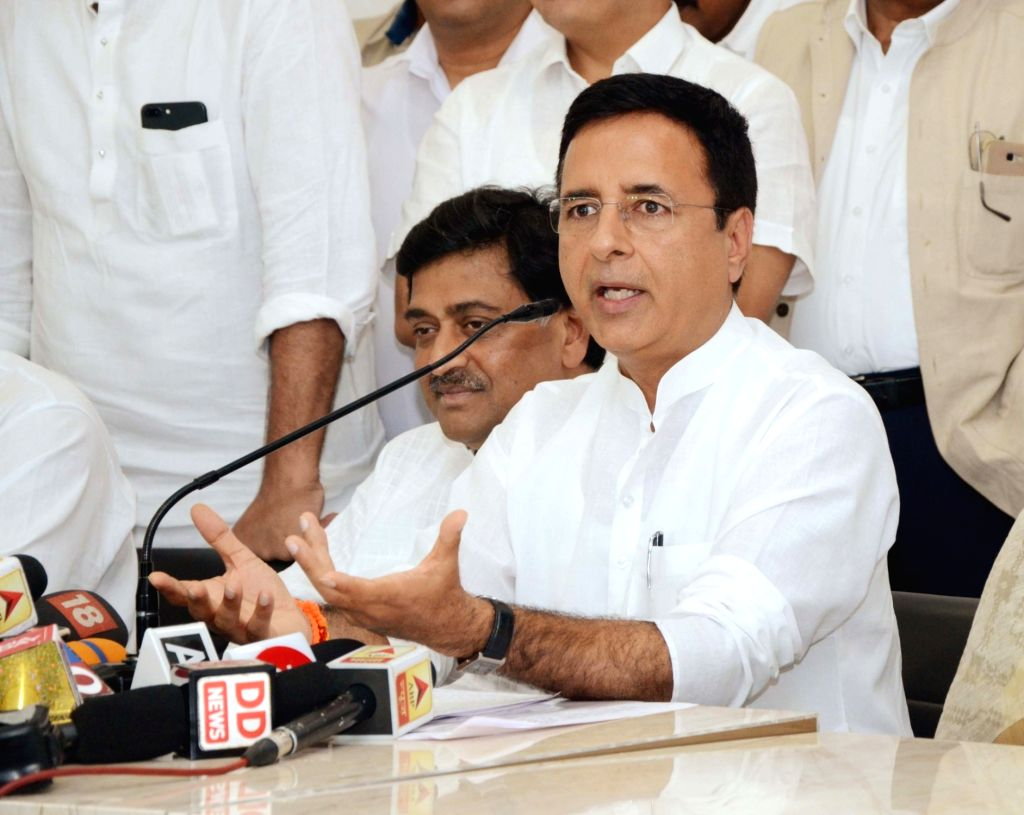 Nagpur: Congress leader Randeep Singh Surjewala addresses a press conference in Nagpur on Oct 1, 2018. (Photo: IANS) - Randeep Singh Surjewala