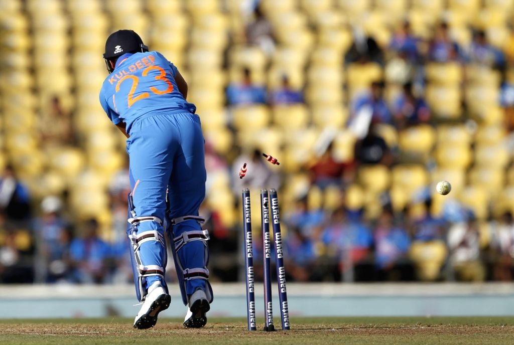 Nagpur: India's Kuldeep Yadav gets bowled during the second ODI match between India and Australia at Vidarbha Cricket Association (VCA) Stadium, in Nagpur, on March 5, 2019. (Photo: Surjeet Yadav/IANS) - Kuldeep Yadav and Surjeet Yadav