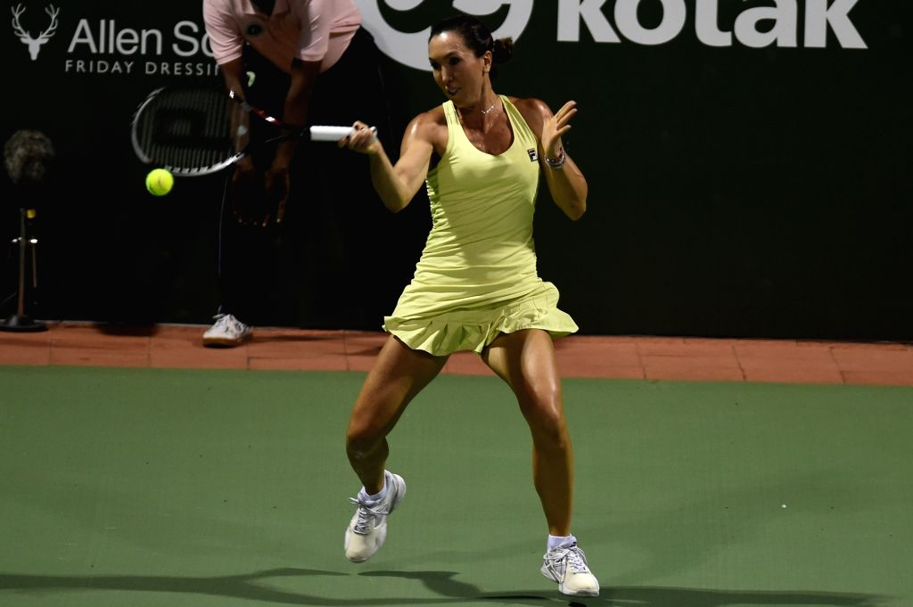 Nagpur Orangers player Jelena Jankovic in action during the Champions Tennis League (CTL) 2015 match against Chennai Warriors Heather Watson at SDAT Stadium in Chennai on Nov 26, 2015.