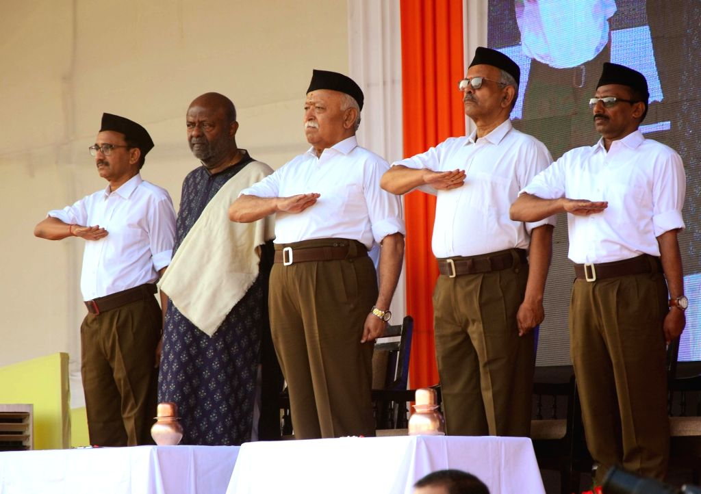 Nagpur: Rashtriya Swayamsevak Sangh (RSS) chief Mohan Bhagwat with HCL Founder-Chairman Shiv Nadar during Rashtriya Swayamsevak Sangh (RSS)  Foundation Day celebrations at RSS headquarters in Nagpur on Oct 8, 2019. (Photo: IANS)