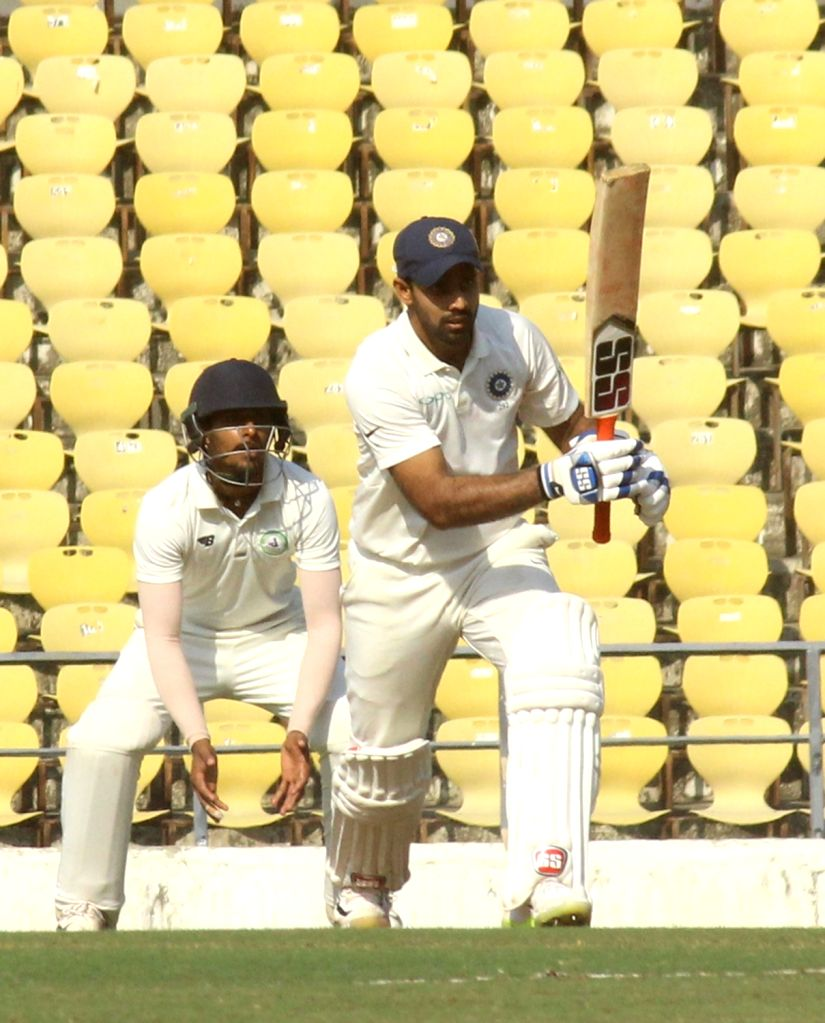 Nagpur: Rest of India (RoI) batsman Hanuma Vihari in action on the First Day of Irani Cup match between Rest of India and Vidarbha at Vidarbha Cricket Association Stadium, in Jamtha, Nagpur on Feb 12, 2019. (Photo: IANS) - Hanuma Vihari