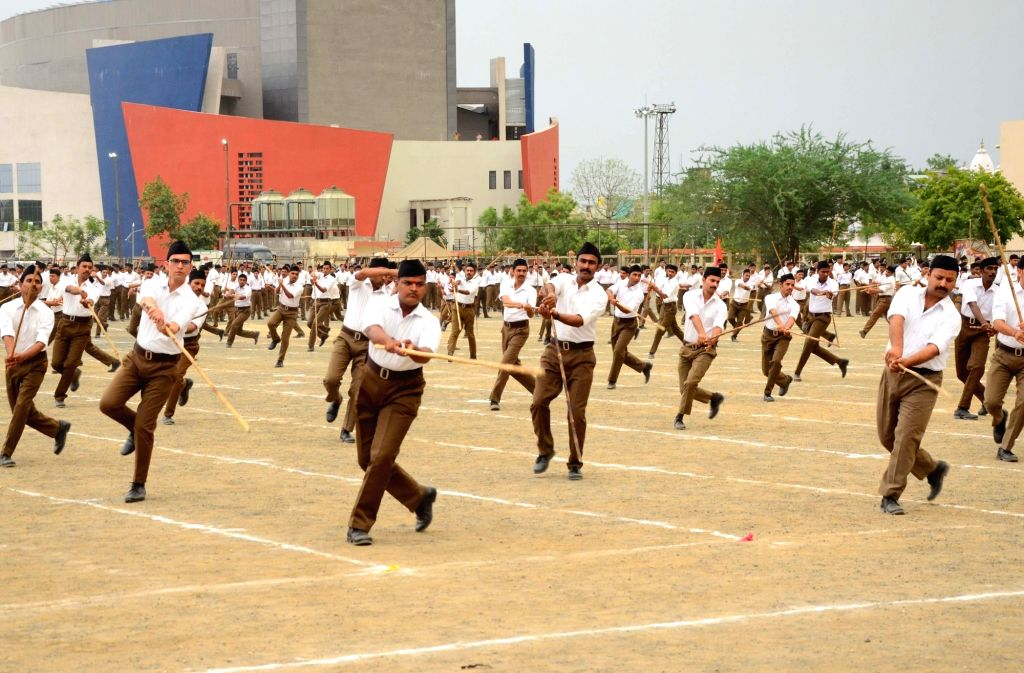 Nagpur: RSS volunteers participate in a drill during the third year 'Sangh Shiksha Varg' of Rashtriya Swayamsevak Sangh (RSS) conclude function at its Reshimbagh headquarters in Maharashtra's Nagpur on June 16, 2019. (Photo: IANS)