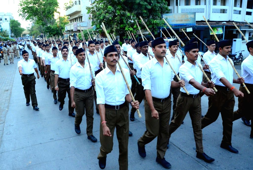 Nagpur: RSS volunteers participate in a route march in Nagpur, on June 3, 2019. (Photo: IANS)
