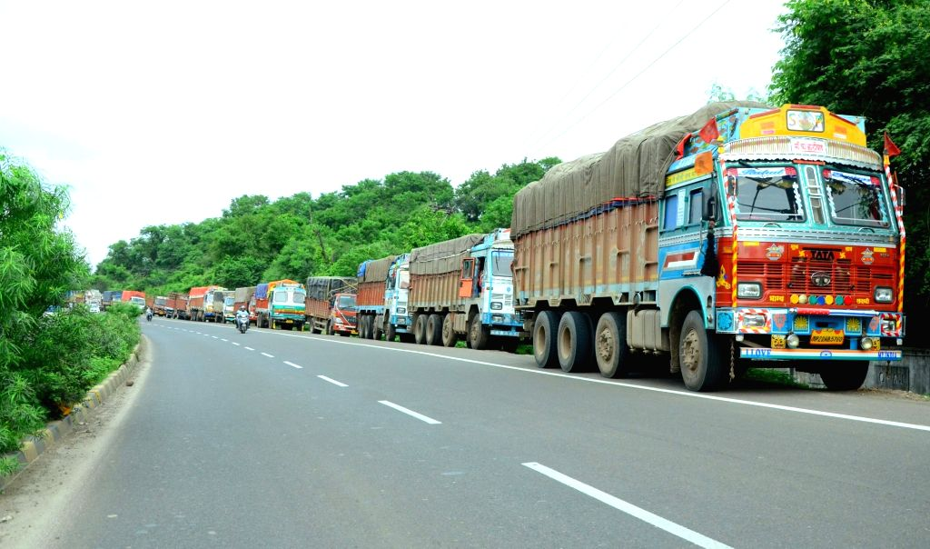 Nagpur : Trucks stranded on National Highway 6 between Nagpur and Amravati on July 20, 2018. Over 90 lakh trucks and around 50 lakh buses, tempos and tourist vehicles went off the roads on Friday as ...