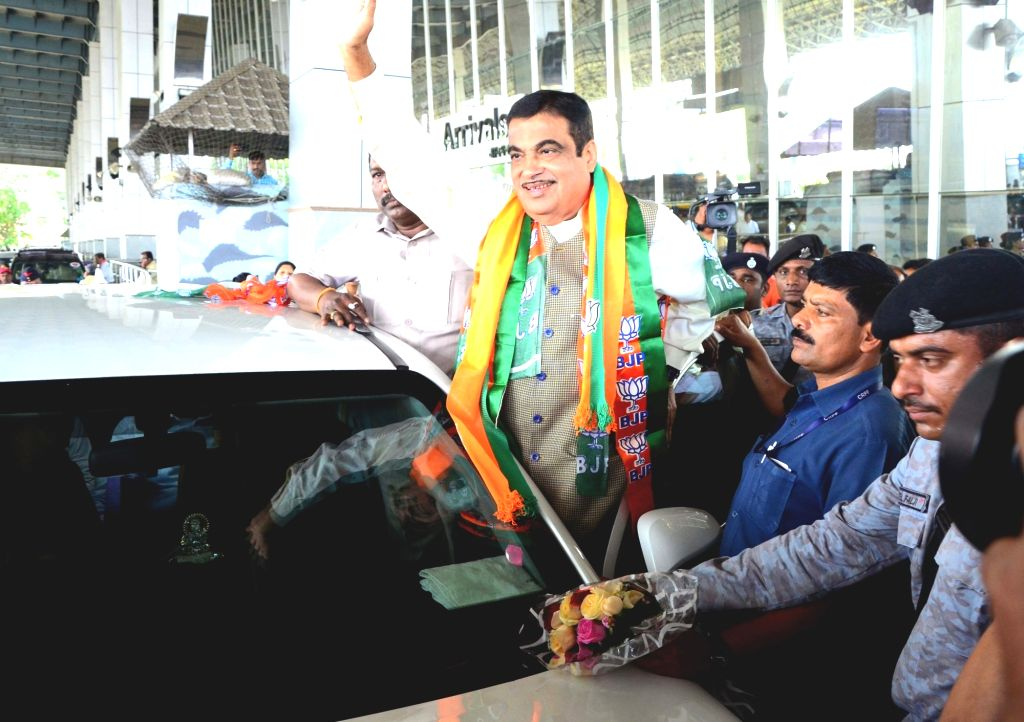 Nagpur: Union Minister and BJP leader Nitin Gadkari who will be contesting from Nagpur in the upcoming Lok Sabha elections, waves at supporters on his arrival at Dr. Babasaheb Ambedkar Nagpur International Airport, on March 23, 2019. (Photo: IANS)