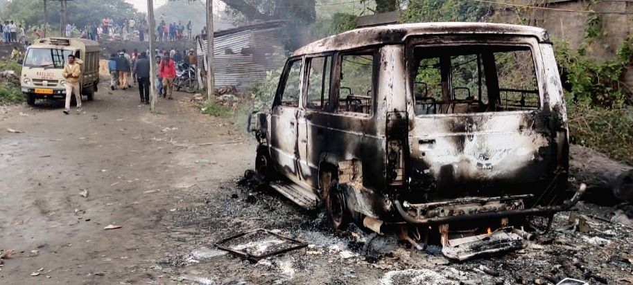 Naihati: The charred remains of a vehicle after an explosion in Naihati town in West Bengal's 24 Parganas North district on Jan 10, 2020. Bomb disposal squad members on Friday inspected a 10-ft deep crater created at the spot of the explosion that da