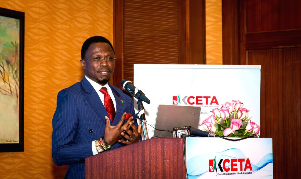 NAIROBI, Aug. 27, 2019 - Ababu Namwamba, Chief Administrative Secretary in the Ministry of Foreign Affairs of Kenya, speaks during a ceremony to launch the 2018-2019 Social Responsibility Report in ...