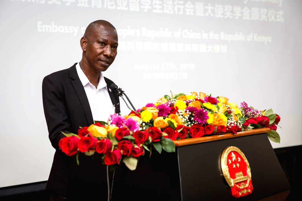 NAIROBI, Aug. 27, 2019 - Adhere Cavince, a representative of the 2019 scholarship beneficiaries, speaks during a ceremony in Nairobi, Kenya, on Aug. 27, 2019. The Chinese Embassy in Kenya on Tuesday ...