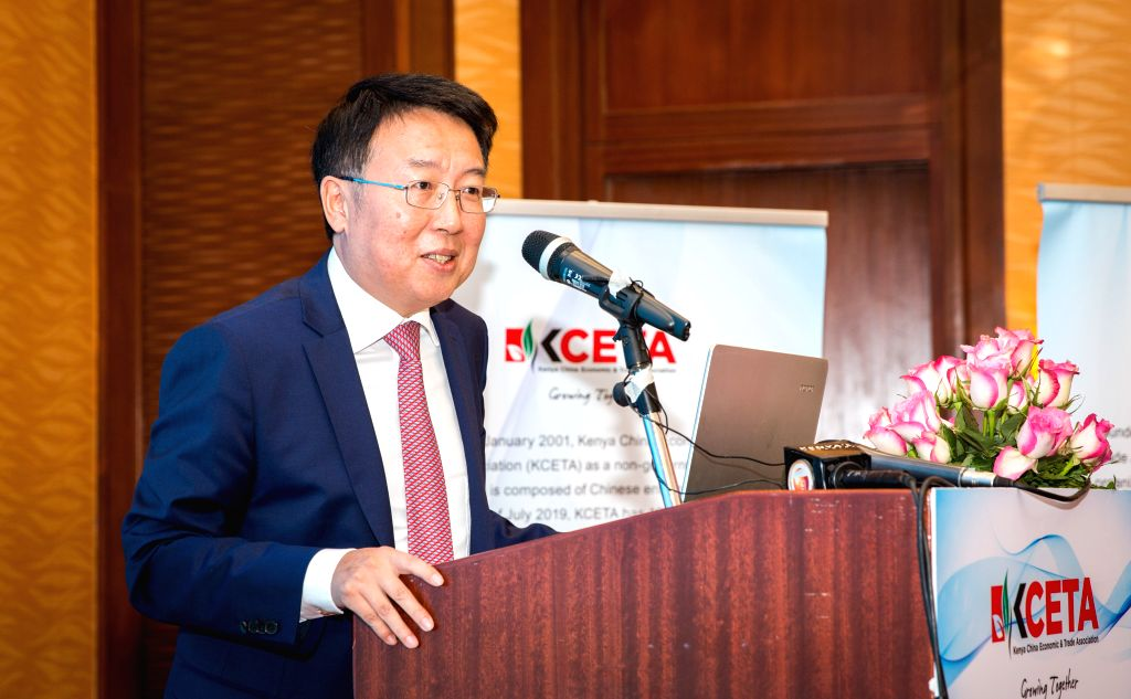 NAIROBI, Aug. 27, 2019 - Chinese Ambassador to Kenya Wu Peng speaks during a ceremony to launch the 2018-2019 Social Responsibility Report in Nairobi, Kenya, on Aug. 27, 2019. Efforts by Chinese ...