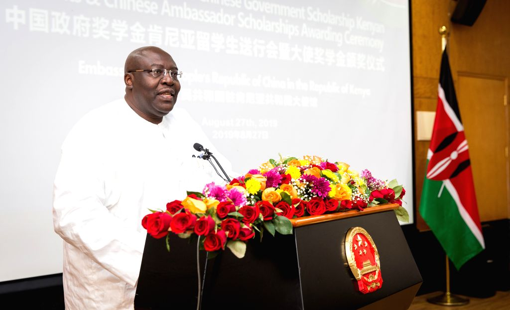 NAIROBI, Aug. 27, 2019 - Tom Amolo, Political and Diplomatic Secretary in Kenya's Ministry of Foreign Affairs, speaks during a ceremony in Nairobi, Kenya, on Aug. 27, 2019. The Chinese Embassy in ...