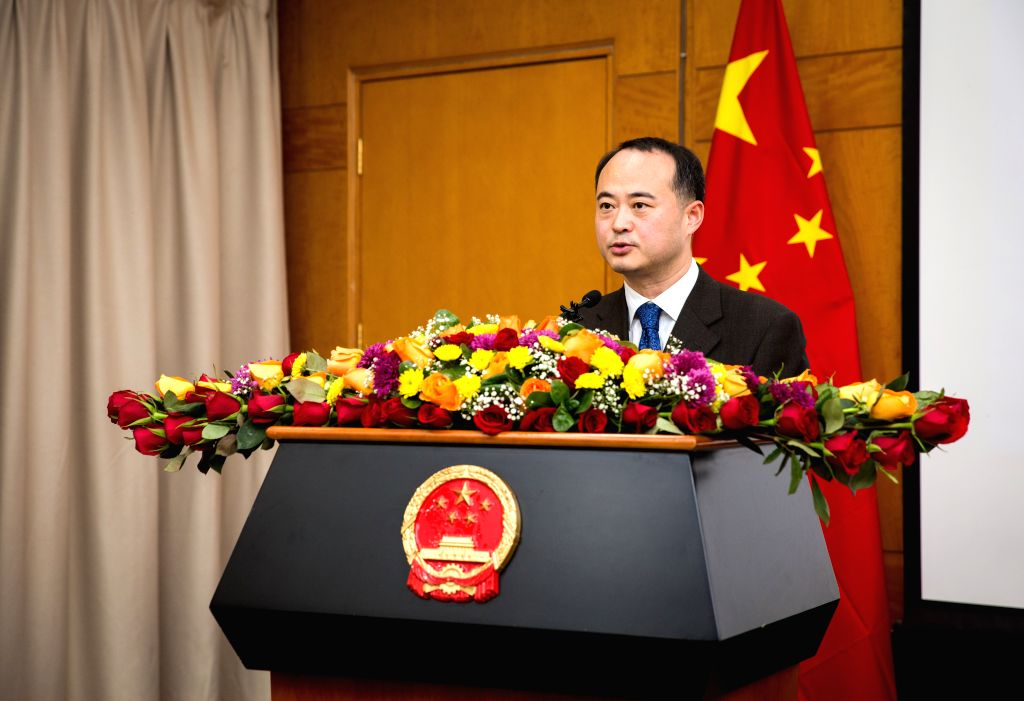 NAIROBI, Aug. 27, 2019 - Zhao Xiyuan, Minister Counselor at the Chinese Embassy in Kenya, speaks during a ceremony in Nairobi, Kenya, on Aug. 27, 2019. The Chinese Embassy in Kenya on Tuesday hosted ... - Counselor