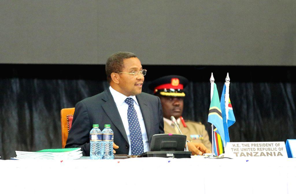 Tanzanian President Jakaya Kikwete speaks during the 16th East Africa Community(EAC) Heads of State Summit in Nairobi, capital of Kenya, Feb. 20, 2015. East African ...
