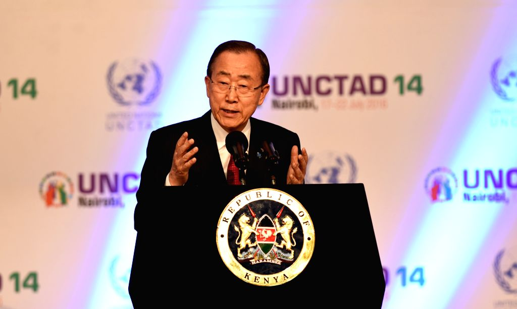 NAIROBI, July 18, 2016 - UN Secretary-General Ban Ki-moon speaks during the opening ceremony of the 14th session of the UN Conference on Trade and Development (UNCTAD 14), in Kenyan capital Nairobi, ...