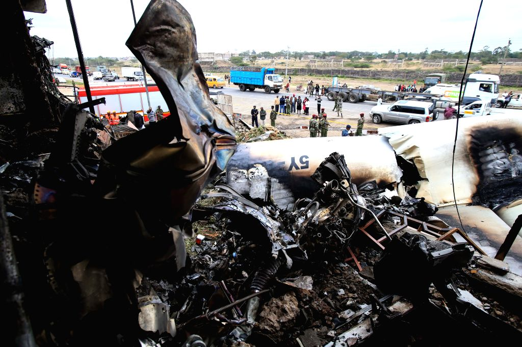 Photo taken on July 2, 2014 shows the wreckage of a cargo plane that crashed at a commercial building in Nairobi, capital of Kenya. A cargo plane crashed into a ...