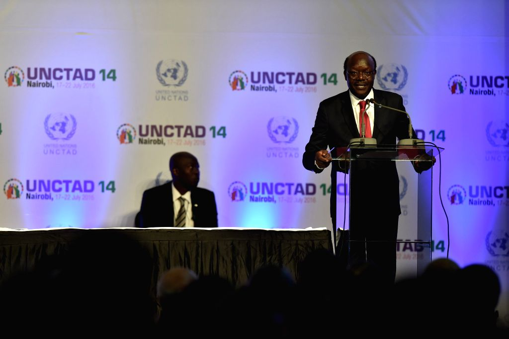NAIROBI, July 23, 2016 - Mukhisa Kituyi, Secretary-General of the UN Conference on Trade and development (UNCTAD), speaks during the closing ceremony of the 14th session of UNCTAD in Nairobi, Kenya, ...