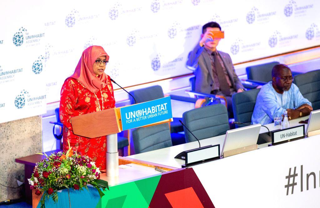 NAIROBI, June 1, 2019 - Maimunah Mohd Sharif (1st L), UN-Habitat executive director, speaks during the closing ceremony of the first UN-Habitat Assembly in Nairobi, capital of Kenya, May 31, 2019. ...