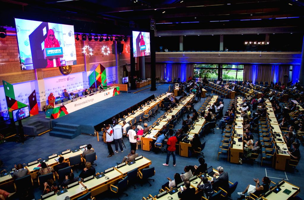 NAIROBI, June 1, 2019 - Photo taken on May 31, 2019 shows the scene of the closing ceremony of the first UN-Habitat Assembly in Nairobi, capital of Kenya. The first UN-Habitat Assembly concluded in ...