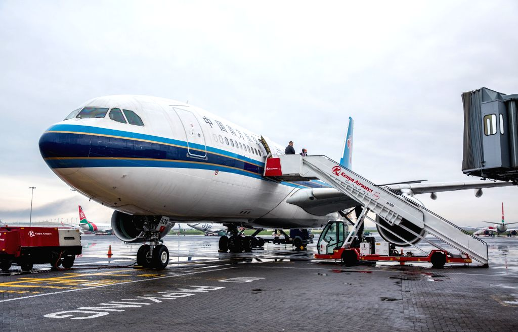 NAIROBI, June 13, 2019 - Flight CZ6043 of China Southern Airlines arrives at Jomo Kenyatta International Airport in Nairobi, Kenya, June 12, 2019. China Southern Airlines on Wednesday launched a ...