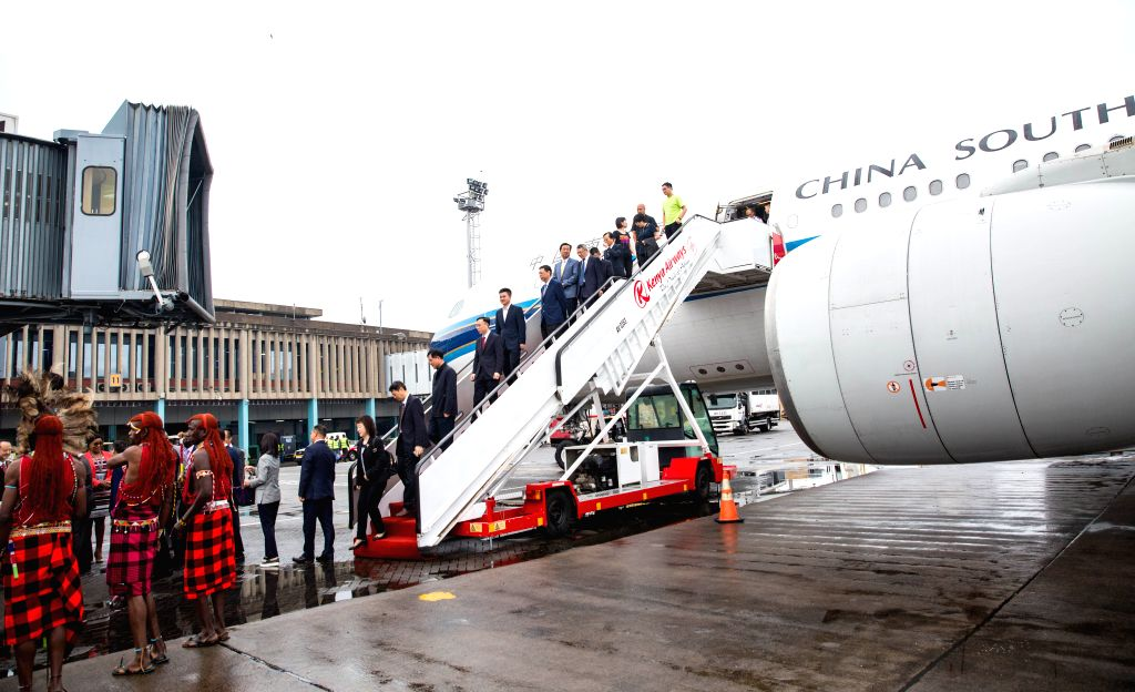 NAIROBI, June 13, 2019 - Passengers get off flight CZ6043 of China Southern Airlines at Jomo Kenyatta International Airport in Nairobi, Kenya, June 12, 2019. China Southern Airlines on Wednesday ...