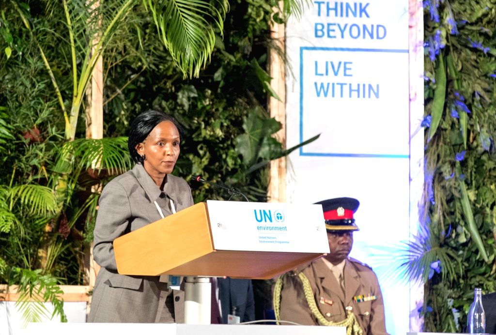 NAIROBI, March 14, 2019 - Acting Executive Director of the United Nations Environmental Programme (UNEP) Joyce Msuya (L) delivers a speech at the high-level segment of the fourth session of the UN ...