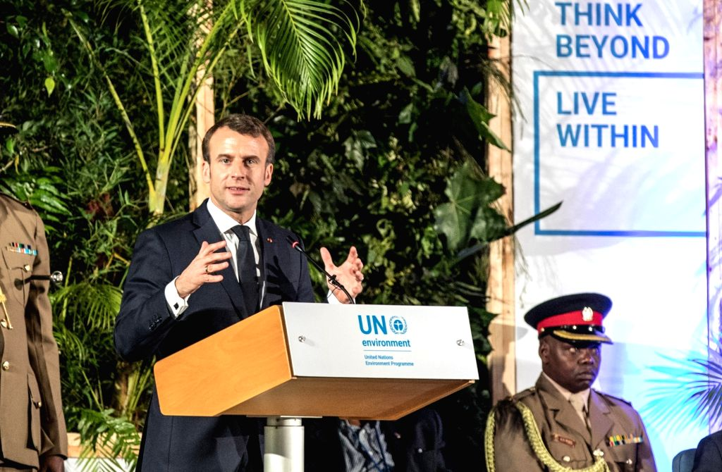 NAIROBI, March 14, 2019 - French President Emmanuel Macron (L) delivers a speech at the high-level segment of the fourth session of the UN Environment Assembly (UNEA) in Nairobi, Kenya, March 14, ...