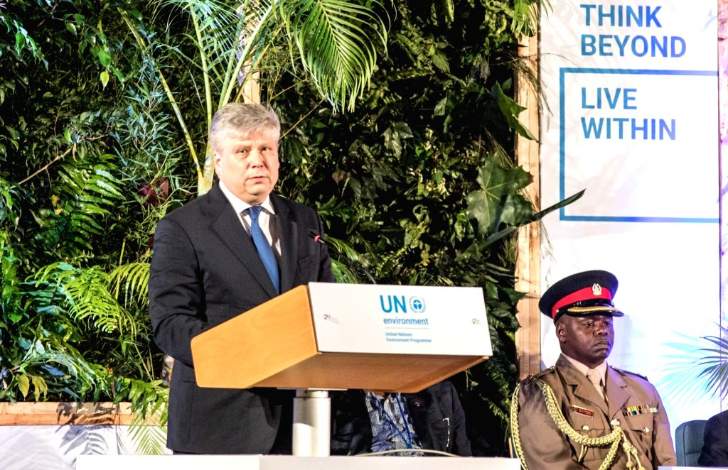 NAIROBI, March 14, 2019 - Siim Kiisler (L), Estonia's Minister of Environment and President of the fourth session of the United Nations Environment Assembly (UNEA), delivers a speech at the ...