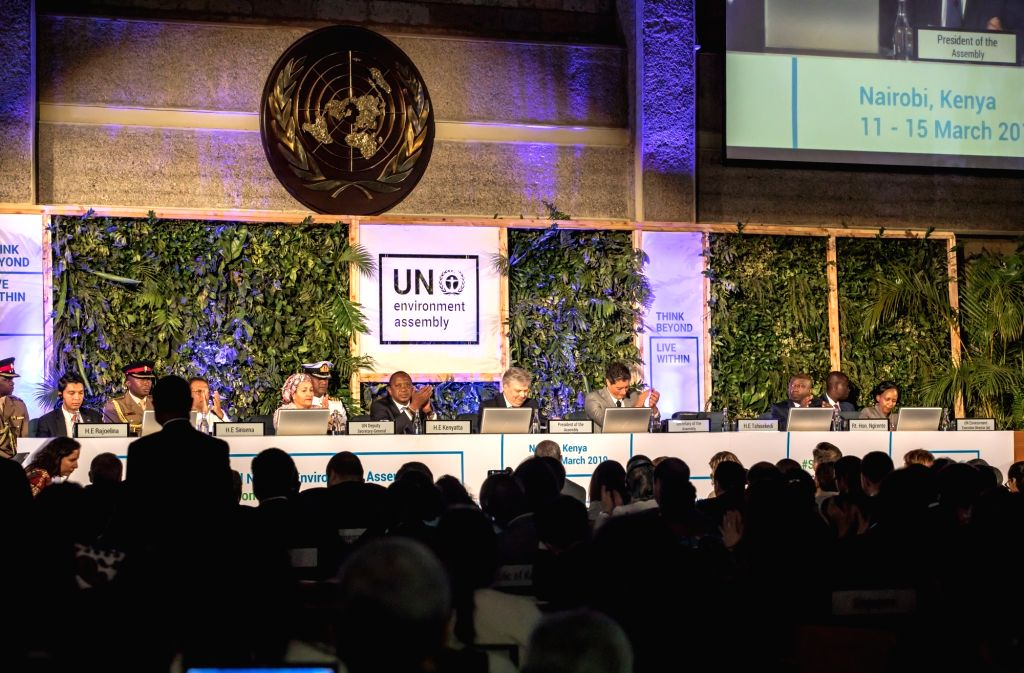 NAIROBI, March 14, 2019 - The photo taken on March 14, 2019 shows the high-level segment of the fourth session of the UN Environment Assembly (UNEA) held in Nairobi, Kenya. Heads of states and ...