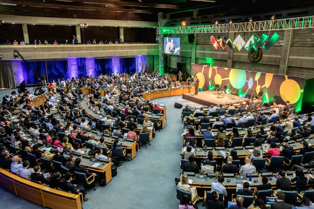 NAIROBI, March 9, 2019 - The photo taken on March 9, 2019 shows the opening ceremony of the second global session of the UN Science-Policy-Business Forum on the Environment in Nairobi, Kenya.