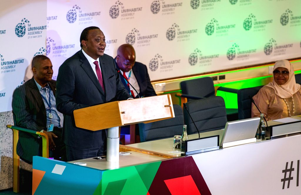 NAIROBI, May 28, 2019 - Kenyan President Uhuru Kenyatta speaks at the opening ceremony of the first session of the UN-Habitat Assembly in Nairobi, Kenya, May 27, 2019. The first session of the ...