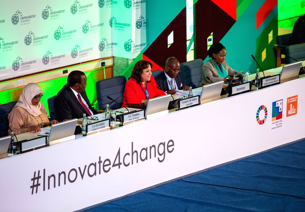 NAIROBI, May 28, 2019 - Martha Delgado Peralta (3rd L), president of the UN-Habitat Assembly, speaks at the opening ceremony of the first session of the UN-Habitat Assembly in Nairobi, Kenya, May 27, ...