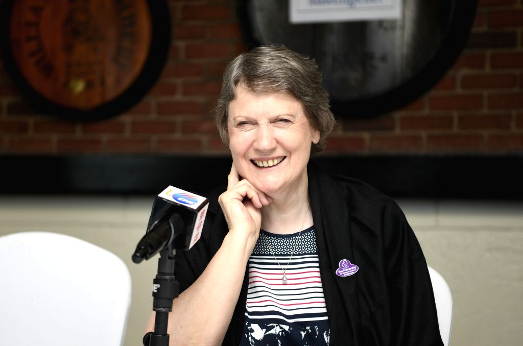 NAIROBI, Nov. 12, 2019 - Helen Clark, Board Chair of the Partnership for Maternal, Newborn and Child Health (PMNCH), smiles during an interview with Xinhua in Nairobi, capital of Kenya, Nov. 9, 2019. ...