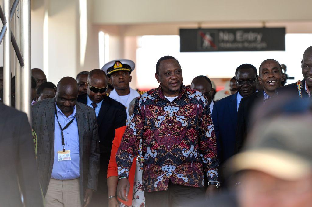 NAIROBI, Oct. 17, 2019 - Kenyan President Uhuru Kenyatta attends the launching ceremony of Kenya's standard gauge railway (SGR) Phase 2A at Maai Mahiu Station in Kenya, Oct. 16, 2019. Kenyan ...
