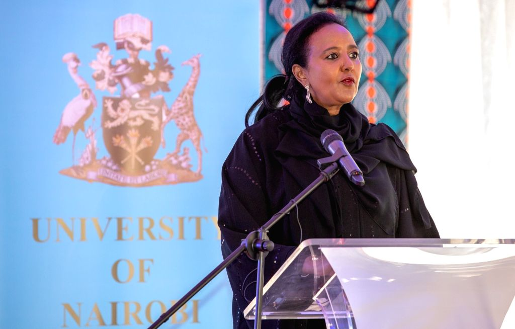 NAIROBI, Sept. 17, 2018 - Amina Mohamed, the Cabinet Secretary for Education of Kenya, addresses a signing ceremony to construct and operationalize a cancer institute in Nairobi, Kenya, on Sept. 17, ...
