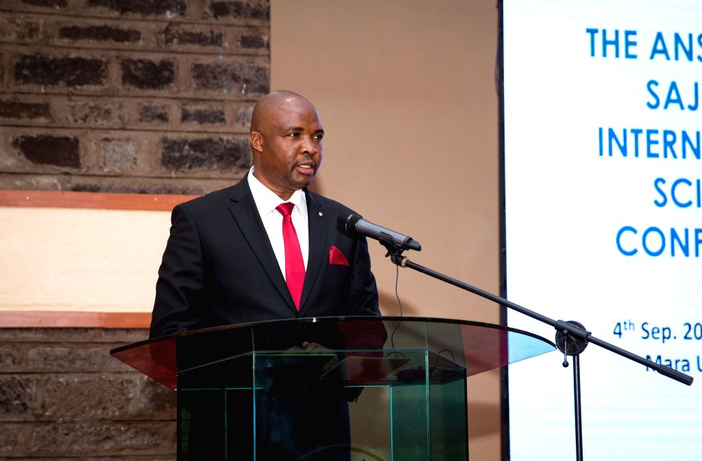 NAIROBI, Sept. 5, 2019 - Godrick Bulitia, deputy vice chancellor in charge of academic and student affairs at Maasai Mara University, speaks during the opening ceremony of an international conference ...