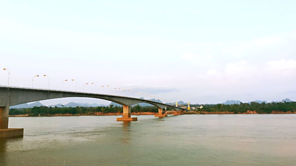 NAKHON PHANOM, May 19, 2019 - The Thai-Lao Friendship Bridge over the Mekong River connecting Thailand's Nakhon Phanom Province with Laos' Khammouane Province is seen in Nakhon Phanom, Thailand, May ...