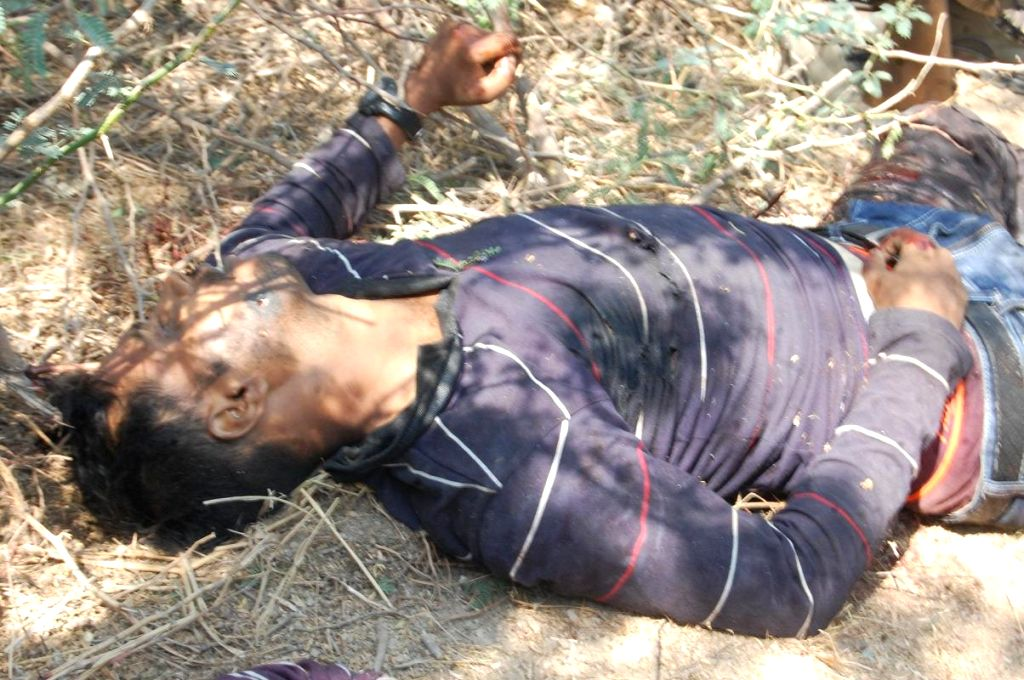 A body of a gangster who was killed in a fierce gunfight in Telangana`s Nalgonda district, Telangana, on April 4, 2015.