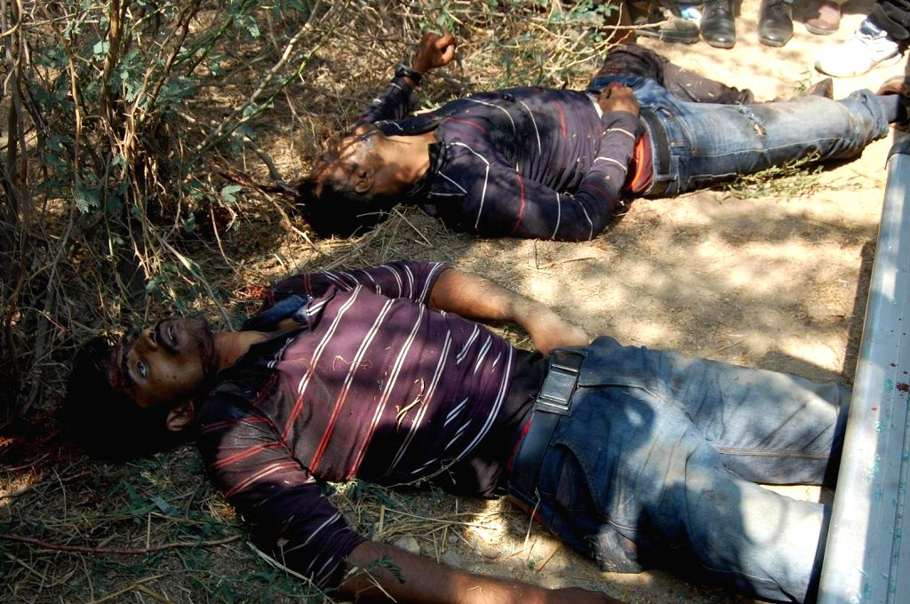 The bodies of the gangsters who was killed in a fierce gunfight in Telangana`s Nalgonda district, Telangana, on April 4, 2015.