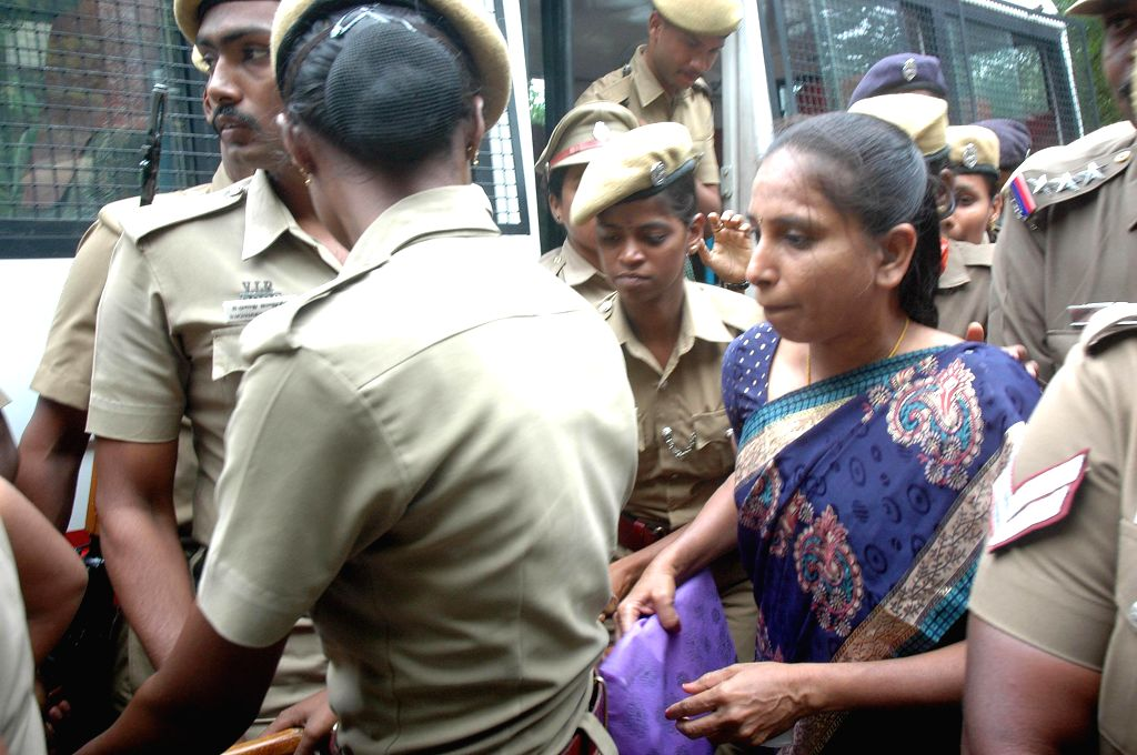 Nalini, one of the convicts in the former Prime Minister Rajiv Gandhi assassination case, being taken to a court from a central prison in Vellore. (Photo: IANS) - Rajiv Gandhi