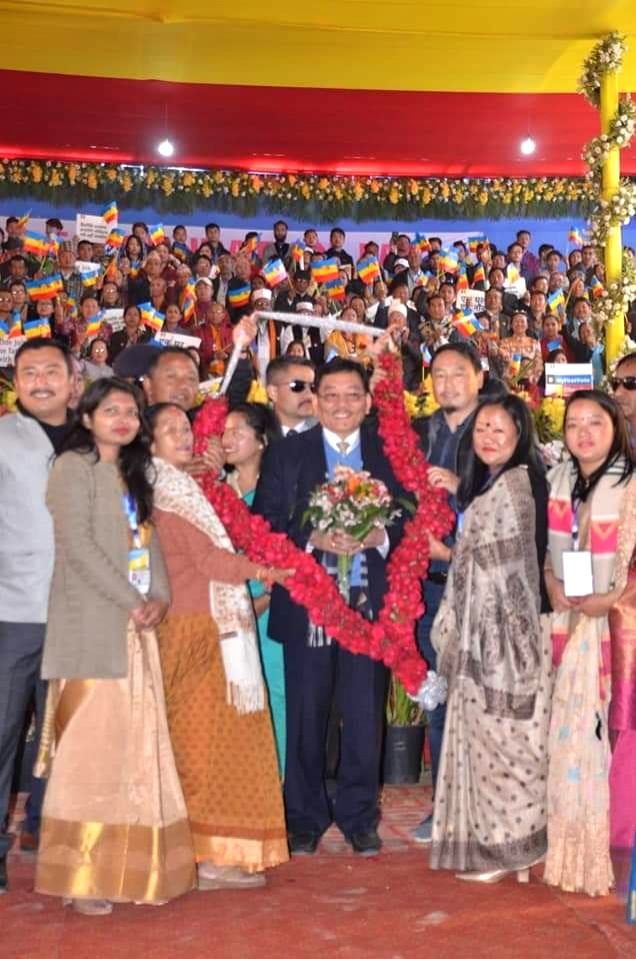 Namchi (Sikkim): Sikkim Chief Minister Pawan Chamling during 27th Foundation Day celebrations of Sikkim Democratic Front (SDF) at Namchi, Sikkim on March 4, 2019. - Pawan Chamling